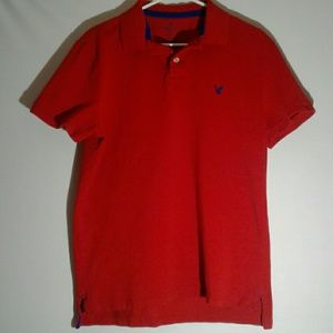 American Eagle Men's Red Polo Size Large